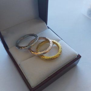 White, Rose and Yellow Gold Dainty Ring